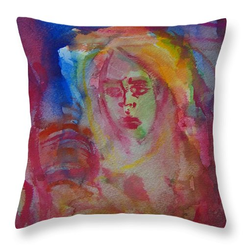 Abstract Throw Pillow featuring the painting Searching For Self by Judith Redman