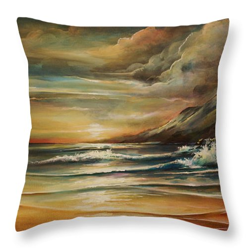 Seascape Throw Pillow featuring the painting Seascape 3 by Michael Lang