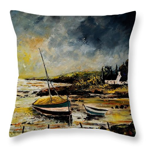 Sea Throw Pillow featuring the painting Seascape 452654 by Pol Ledent
