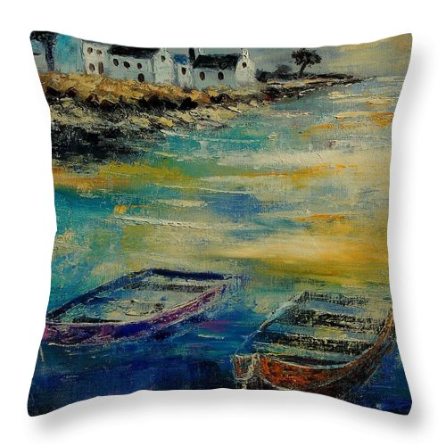 Sea Throw Pillow featuring the painting Seascape 5614569 by Pol Ledent
