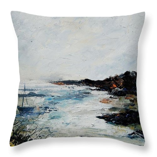 Sea Throw Pillow featuring the painting Seascape 68 by Pol Ledent