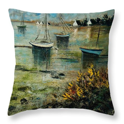Seascape Throw Pillow featuring the print Seascape 78 by Pol Ledent