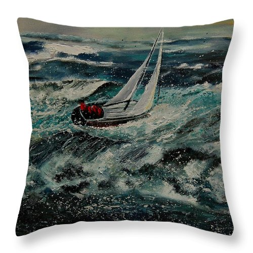 Sea Throw Pillow featuring the painting Seascape 97 by Pol Ledent