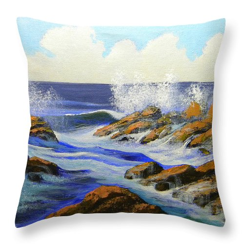Seascape Throw Pillow featuring the painting Seascape Study 2 by Frank Wilson