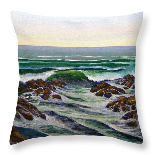 Seascape Throw Pillow featuring the painting Seascape Study 6 by Frank Wilson