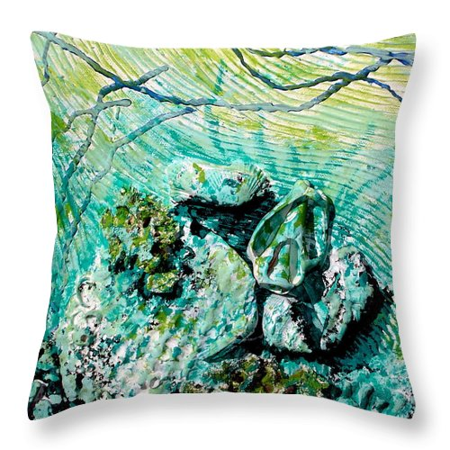 Seashell Throw Pillow featuring the sculpture Seashell Collage by Susan Kubes