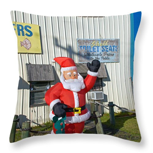 Florida; Christmas; Gift; Santa; Claus; Suggestion; Suggest; Present; Recommend; Recommendation; Cap Throw Pillow featuring the photograph Seashell Seats For Christmas by Allan Hughes