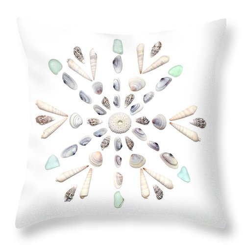 Seashell Throw Pillow featuring the photograph Seashell Snowflake 2 by Jennifer Booher