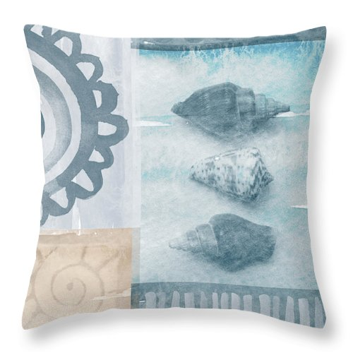 Beach Throw Pillow featuring the painting Seashells by Linda Woods