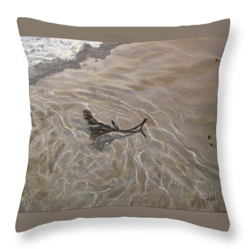 Seascape Throw Pillow featuring the painting Seashore Reflections by Lea Novak