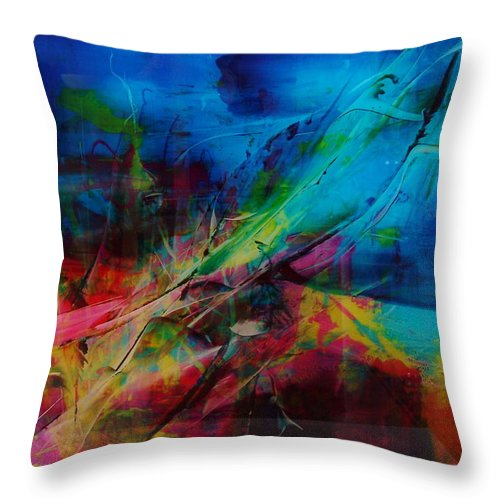 Abstract Paintings Throw Pillow featuring the painting Seaside by Albert Kutzelnig