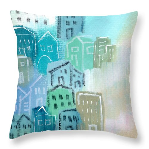 Houses Throw Pillow featuring the painting Seaside City- Art by Linda Woods by Linda Woods