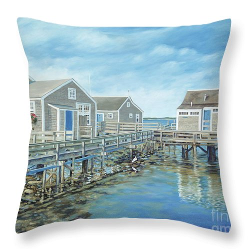 Nanutucket Throw Pillow featuring the painting Seaside Cottages by Danielle Perry