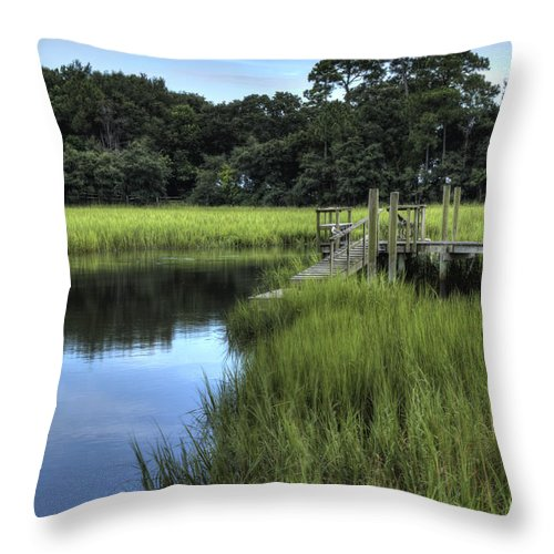 Landscape Throw Pillow featuring the photograph Seaside Creek Fort Lamar Battle Of Secessionville by Dustin K Ryan
