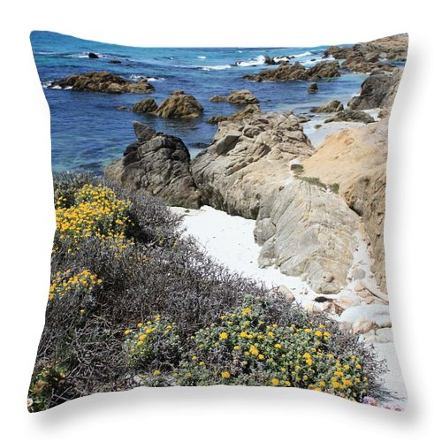 Landscape Throw Pillow featuring the photograph Seaside Flowers And Rocky Shore by Carol Groenen