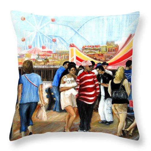 People Throw Pillow featuring the painting Seaside Heights Nj by Leonardo Ruggieri