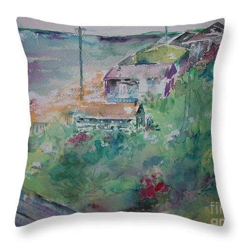 Ocean Throw Pillow featuring the painting Seaside by Robin Miller-Bookhout