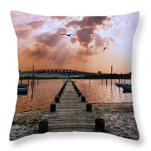 Seascape Throw Pillow featuring the photograph Seaside by Steve Karol