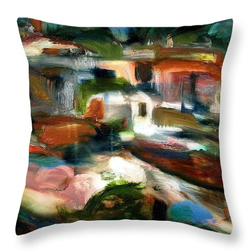 Dornberg Throw Pillow featuring the painting Seaside Village by Bob Dornberg