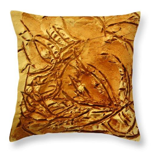 Jesus Throw Pillow featuring the ceramic art Seasons - Tile by Gloria Ssali