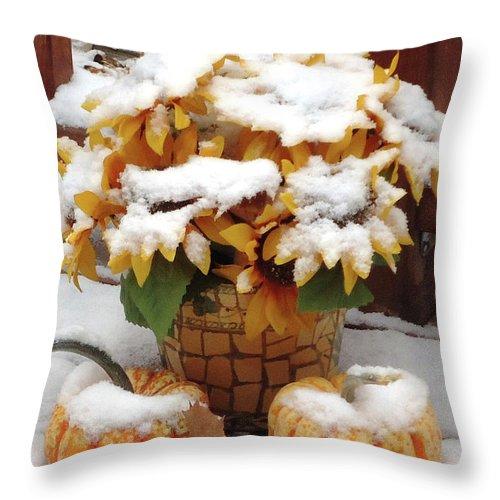 Season Throw Pillow featuring the digital art Seasons Meet And Greet by Ann Johndro-Collins