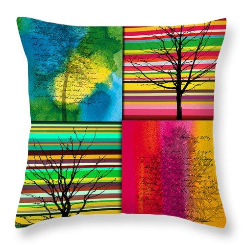 Action Throw Pillow featuring the painting Seasons by Ramneek Narang