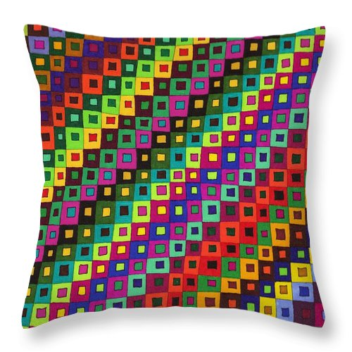 Abstract Pen Drawing Color Squares Rectangles Red Blue Purple Green Fun Contemporary Wall Art Op-art Throw Pillow featuring the drawing Seasons by Susan Epps Oliver