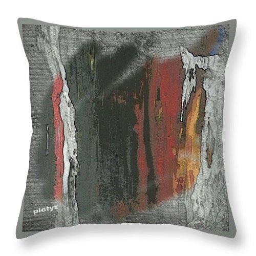 Abstract Throw Pillow featuring the painting Seasonz by Piety Dsilva