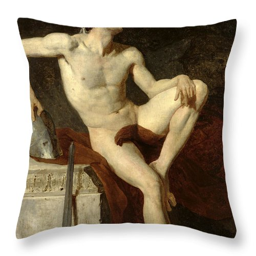 Seated Throw Pillow featuring the painting Seated Gladiator by Jean Germain Drouais