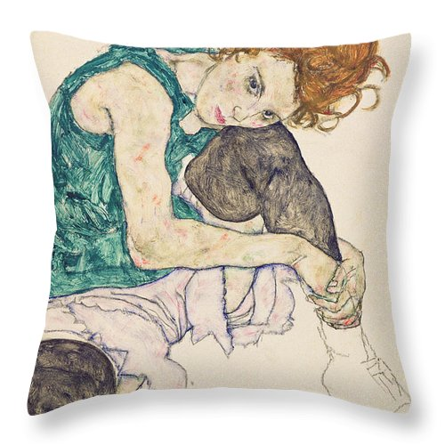 Egon Schiele Throw Pillow featuring the painting Seated Woman with Bent Knee by Egon Schiele