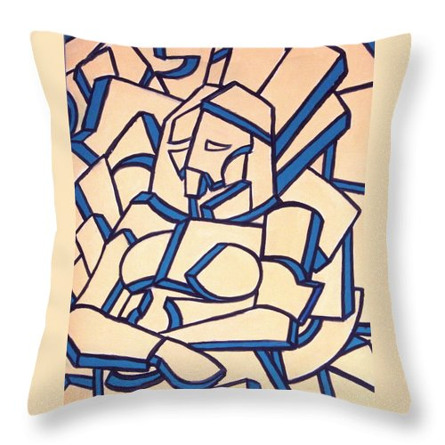 Girl Throw Pillow featuring the painting Seated Women by Thomas Valentine