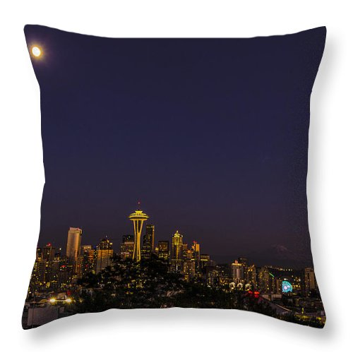 Seattle Skyline Seattle Wa Throw Pillow featuring the photograph Seattle After Dak by Peter Giraudin