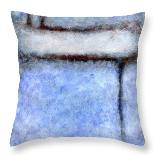 Abstract Throw Pillow featuring the painting Seattle Afternoon Abstract by Karla Beatty