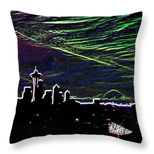 Seattle Throw Pillow featuring the digital art Seattle And Da Mountain by Tim Allen