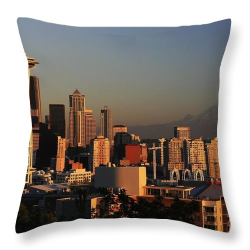 Seattle Sunset Cityscape Evening City Rainier Throw Pillow featuring the photograph Seattle Equinox by Winston Rockwell
