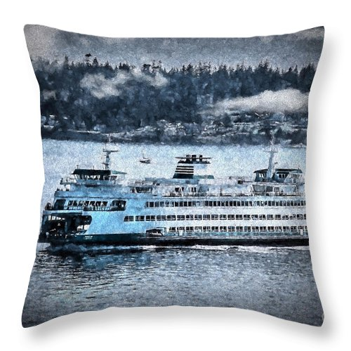 Ferry Throw Pillow featuring the photograph Seattle Ferry by Flamingo Graphix John Ellis