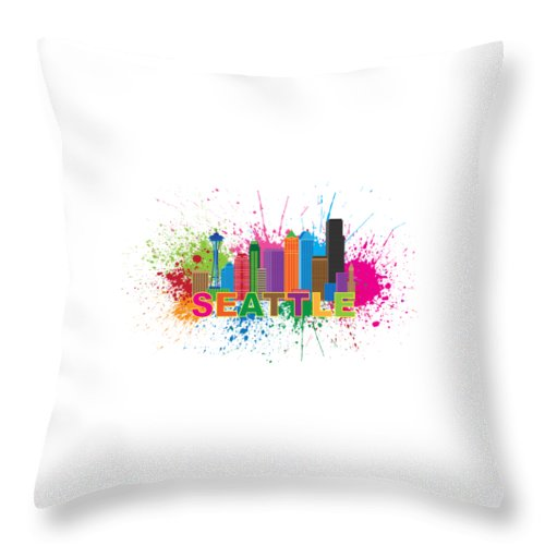 Seattle; Washington; Wa; City; Downtown; Skyline; Cityscape; Colors; Colorful; Buildings; Office; Condominiums; Landmark; Structure; Architecture; Usa; Travel; Pacific Northwest; United States; America; Flag; Destination; Tourism; Souvenirs; Paint; Splatter; Splash; Abstract; Silhouette; Outline; Isolated; White; Background; Illustration; Drawing; Vector Throw Pillow featuring the photograph Seattle Skyline Paint Splatter Text Illustration by Jit Lim