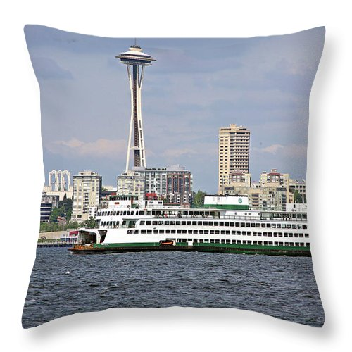 Seattle Throw Pillow featuring the photograph Seattle Waterfront by Edward Coumou