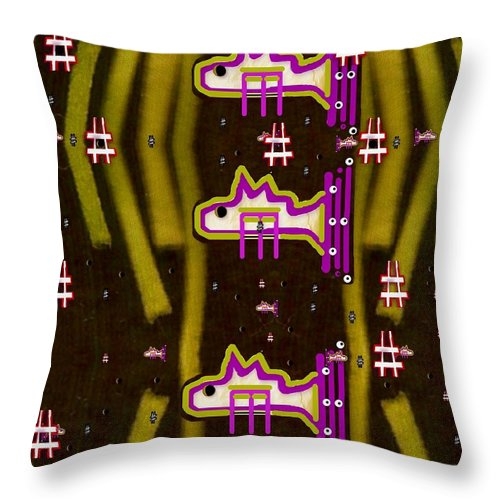 Seaweed Throw Pillow featuring the mixed media Seaweed And Sushi by Pepita Selles