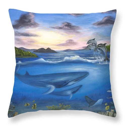Landscape Throw Pillow featuring the painting Seaworld by Anne Kushnick
