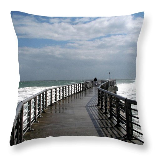 Walk; Solitary; Lonely; Sebastian; Inlet; Florida; Sea; Ocean; Water; Surf; Atlantic; Jetty; Waves; Throw Pillow featuring the photograph Sebastian Inlet On The Atlantic Coast Of Florida by Allan Hughes