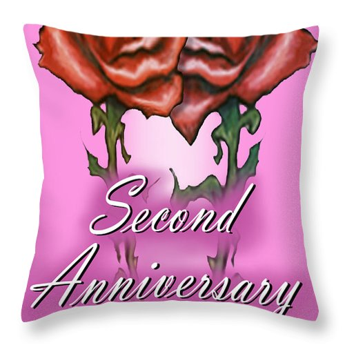Second Throw Pillow featuring the greeting card Second Anniversary by Kevin Middleton