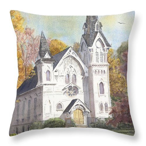 Middle Haddam Throw Pillow featuring the painting Second Congregational Church by Katherine Berlin