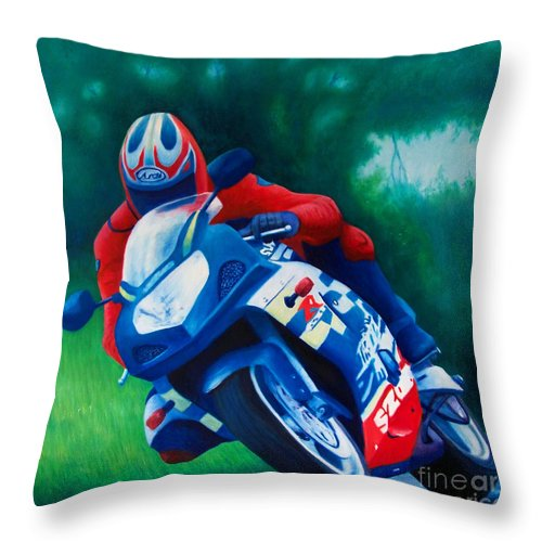 Motorcycles Throw Pillow featuring the painting Second Gear - Suzuki Gsx600 by Brian Commerford
