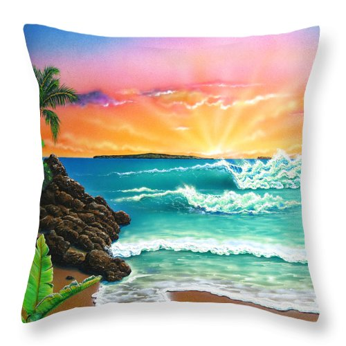 Seascape Throw Pillow featuring the painting Secret Beach by Angie Hamlin