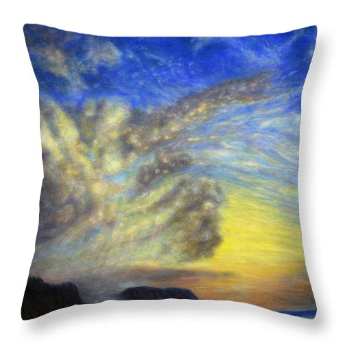 Coastal Decor Throw Pillow featuring the painting Secret Beach Sunset by Kenneth Grzesik