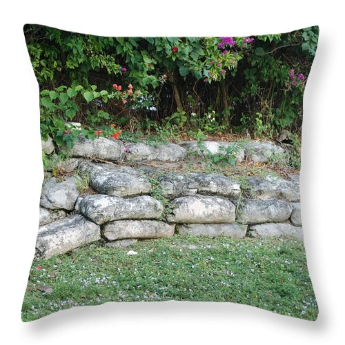Block Throw Pillow featuring the photograph Secret Block Wall by Rob Hans