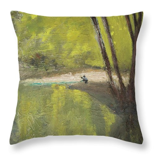 Lake Throw Pillow featuring the painting Secret Cove by Craig Newland