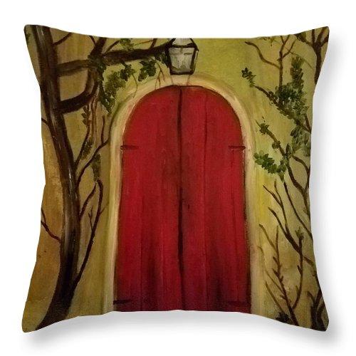 Door Throw Pillow featuring the painting Secret Door by Nicole Clark