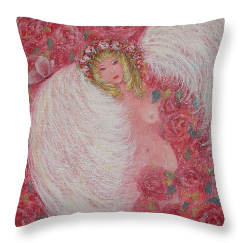 Angel Throw Pillow featuring the painting Secret Garden Angel 6 by Natalie Holland